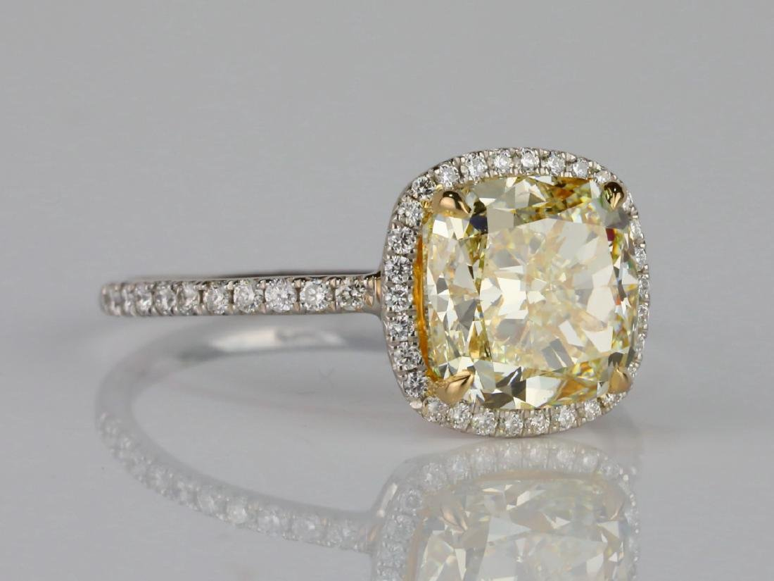 4ct VS1-VS2 Yellow/White Diamond Platinum/18K Ring - 3