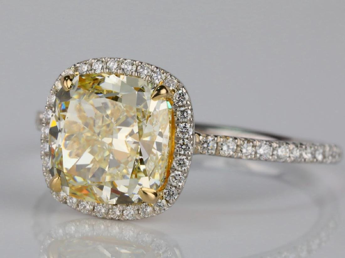 4ct VS1-VS2 Yellow/White Diamond Platinum/18K Ring - 4