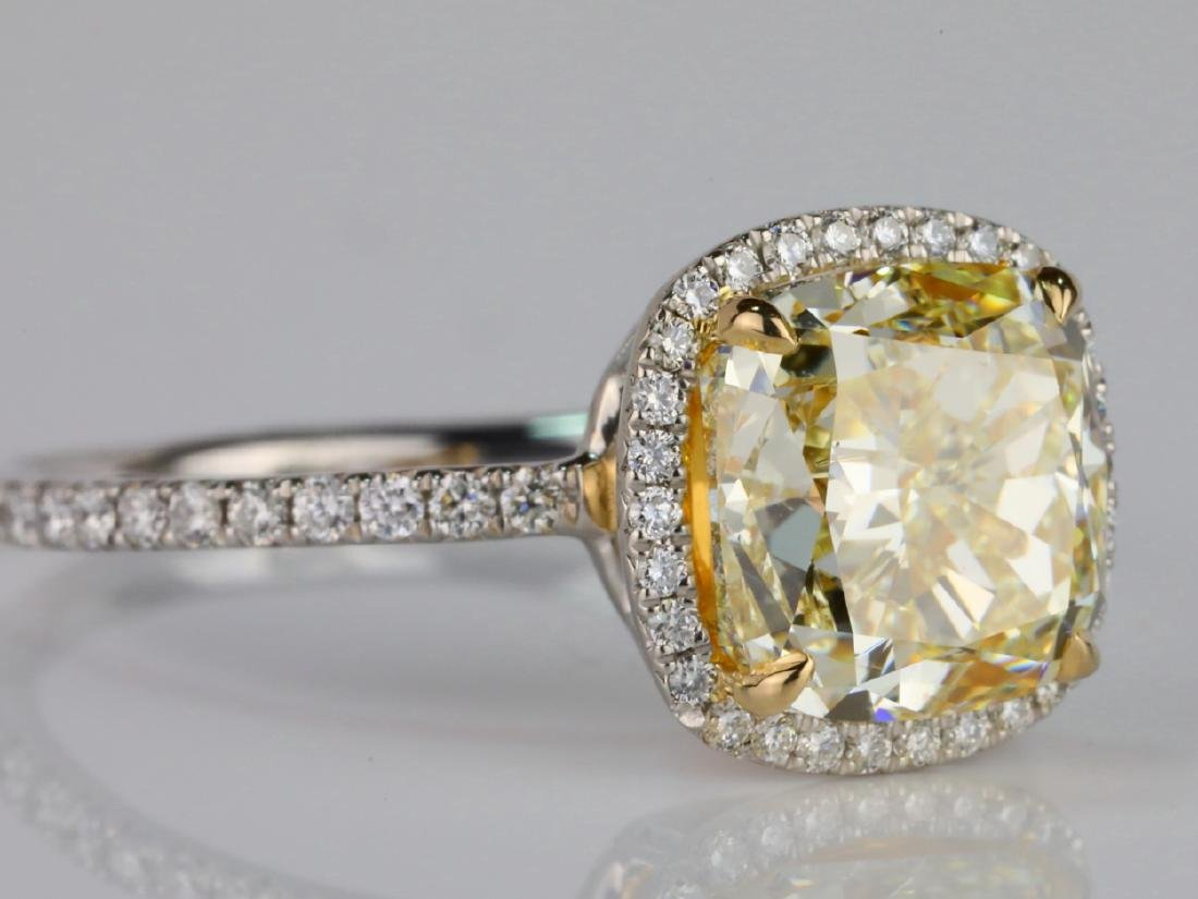 4ct VS1-VS2 Yellow/White Diamond Platinum/18K Ring - 5