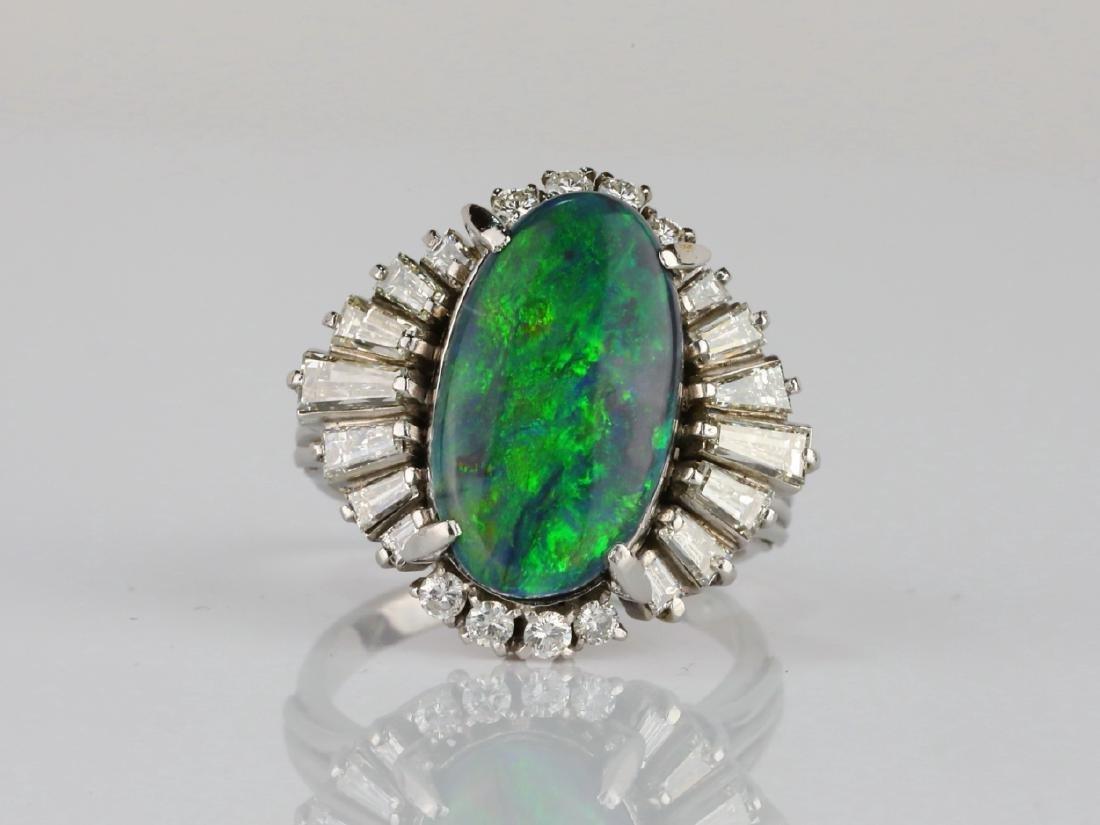 5.15ct Black Opal, 1.70ctw Diamond & Platinum Ring