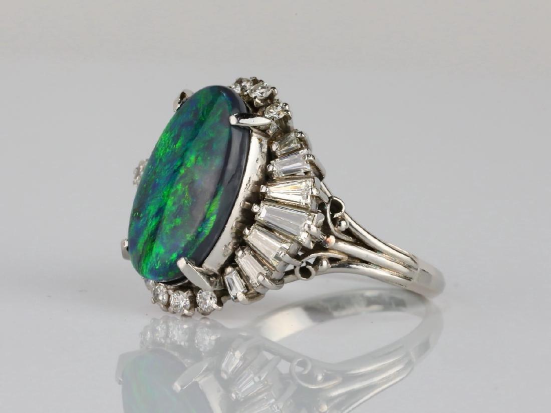 5.15ct Black Opal, 1.70ctw Diamond & Platinum Ring - 2