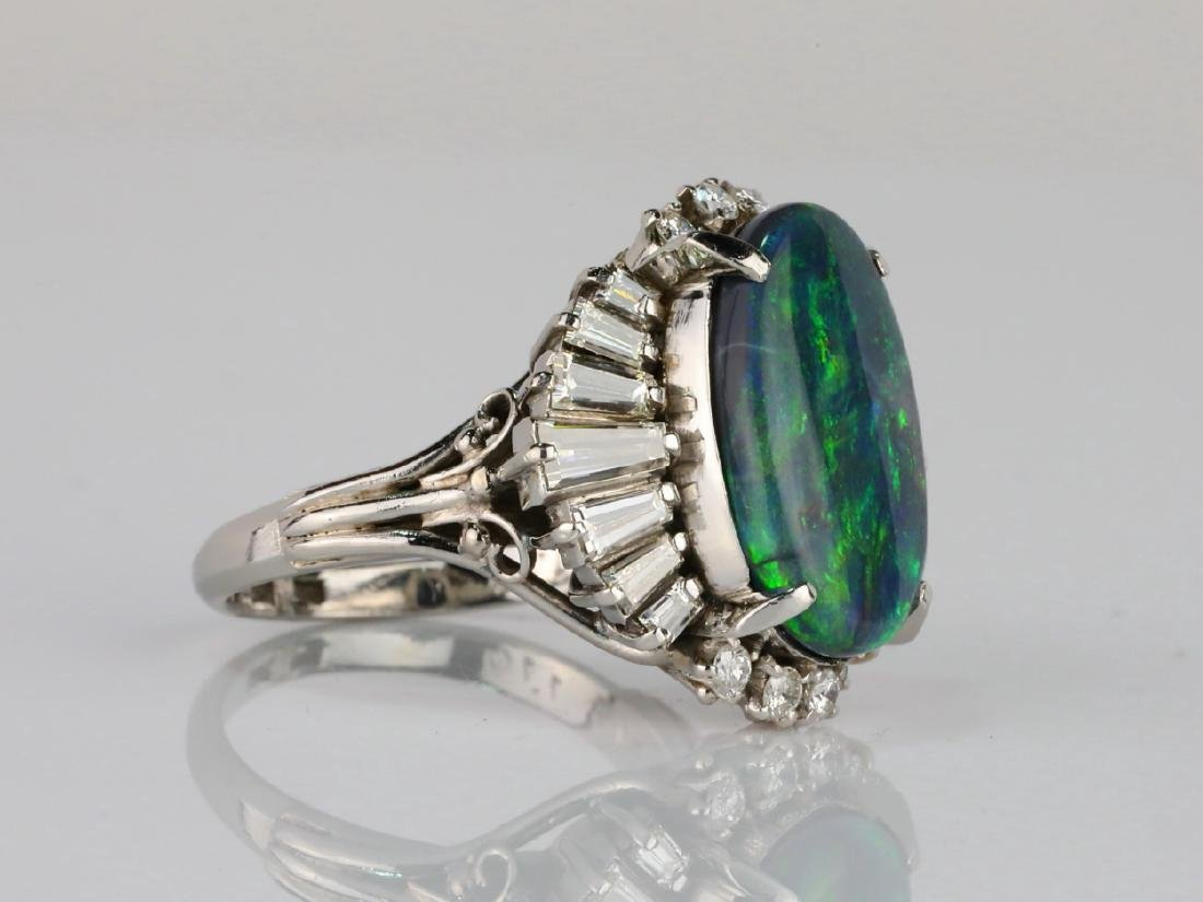 5.15ct Black Opal, 1.70ctw Diamond & Platinum Ring - 3