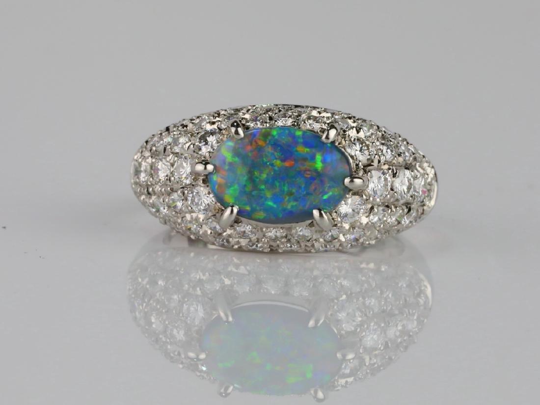 1.05ct Black Opal. 1.2ctw Diamond & Platinum Ring