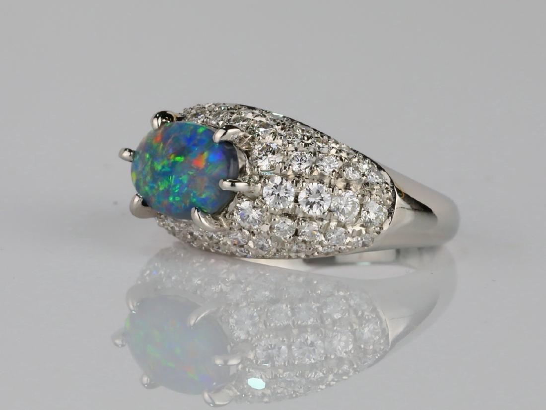 1.05ct Black Opal. 1.2ctw Diamond & Platinum Ring - 2