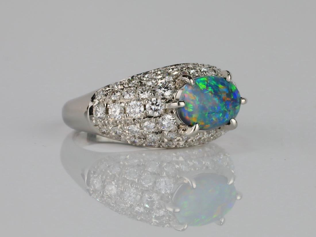 1.05ct Black Opal. 1.2ctw Diamond & Platinum Ring - 3