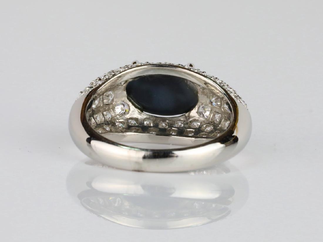 1.05ct Black Opal. 1.2ctw Diamond & Platinum Ring - 4