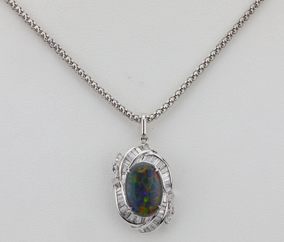 3.10ct Black Opal, 0.90ctw Diamond & Platinum 22""
