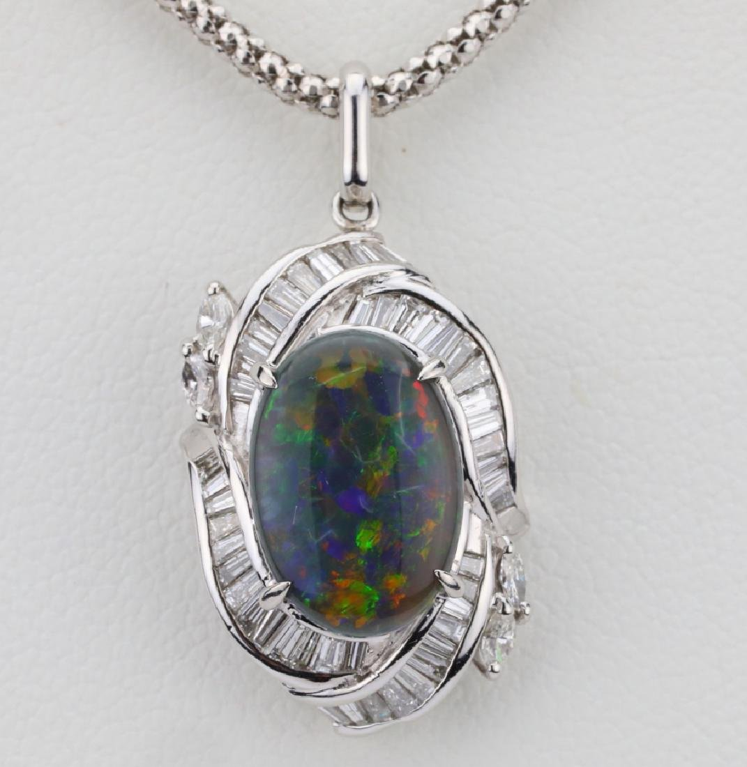 "3.10ct Black Opal, 0.90ctw Diamond & Platinum 22"" - 2"