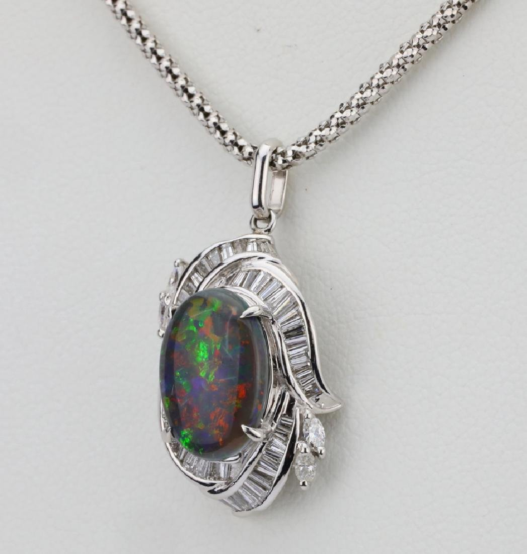 "3.10ct Black Opal, 0.90ctw Diamond & Platinum 22"" - 3"
