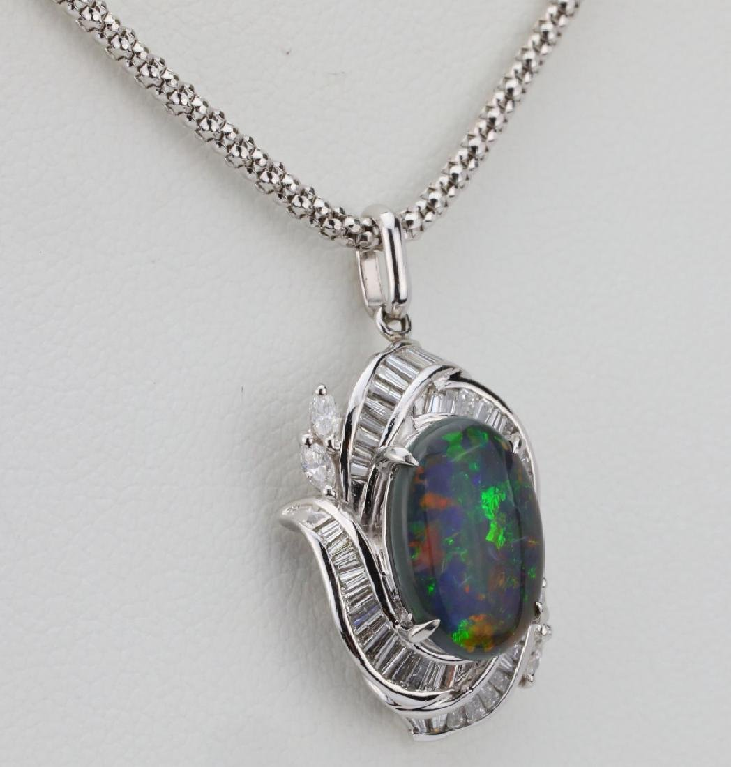 "3.10ct Black Opal, 0.90ctw Diamond & Platinum 22"" - 4"