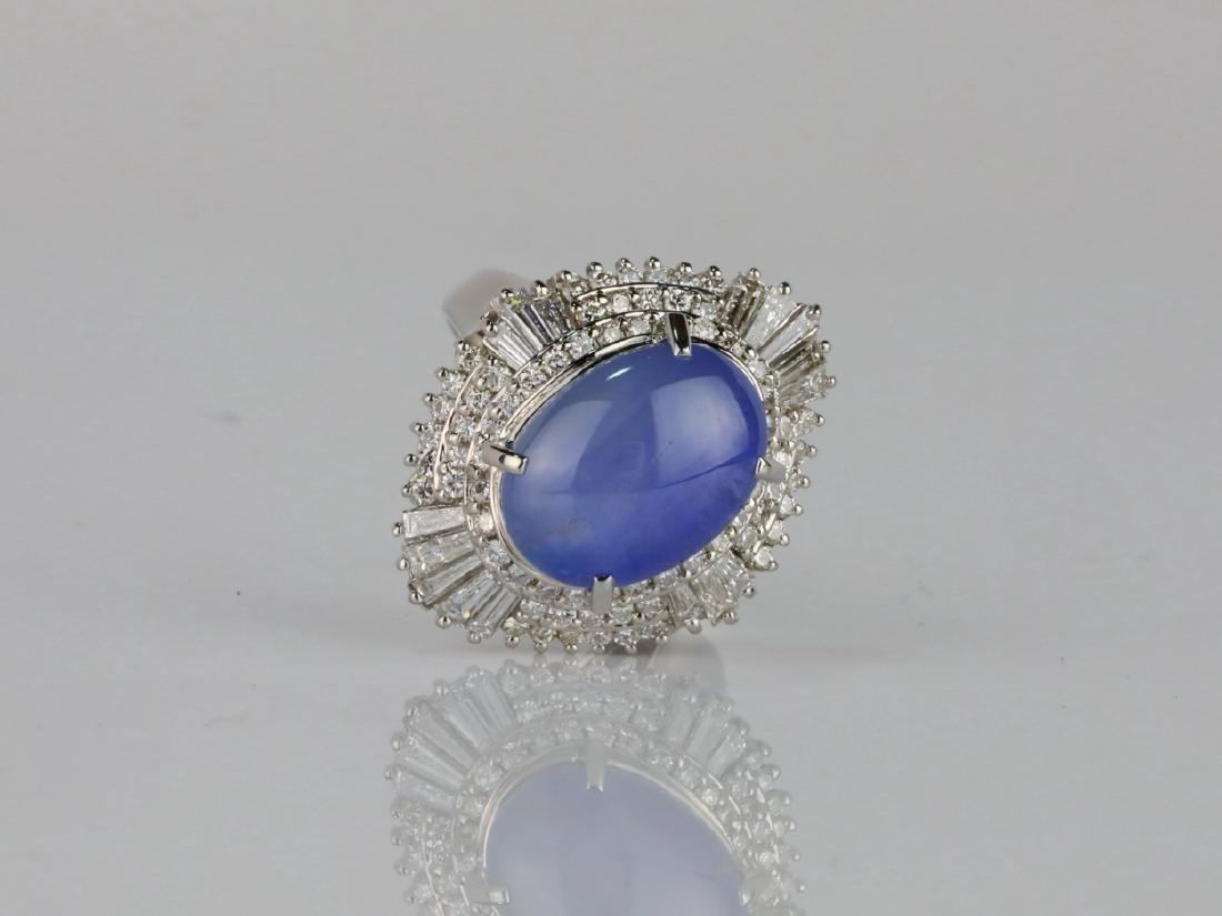 13.4ct Blue Sapphire, 1.75ctw Diamond Platinum Ring