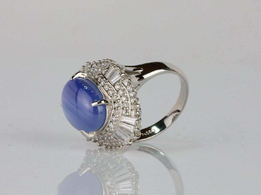 13.4ct Blue Sapphire, 1.75ctw Diamond Platinum Ring - 2
