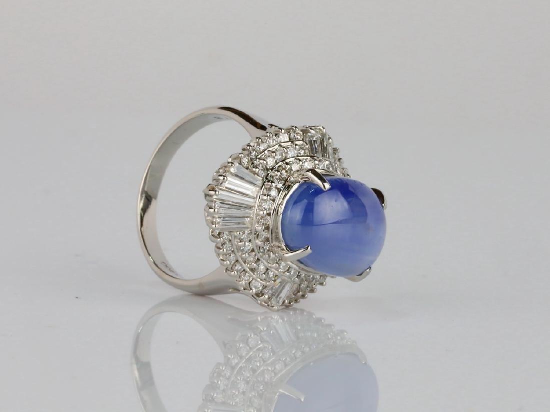 13.4ct Blue Sapphire, 1.75ctw Diamond Platinum Ring - 3