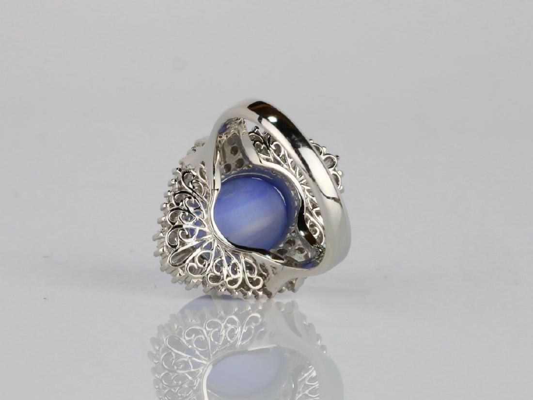 13.4ct Blue Sapphire, 1.75ctw Diamond Platinum Ring - 4