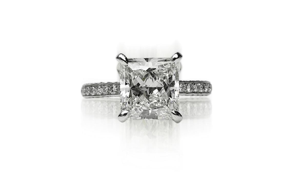 5.81ct GIA VVS2/I Diamond, 1ctw Diamond Plat. Ring - 4