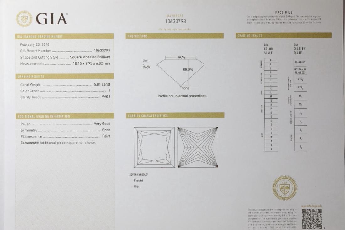 5.81ct GIA VVS2/I Diamond, 1ctw Diamond Plat. Ring - 8
