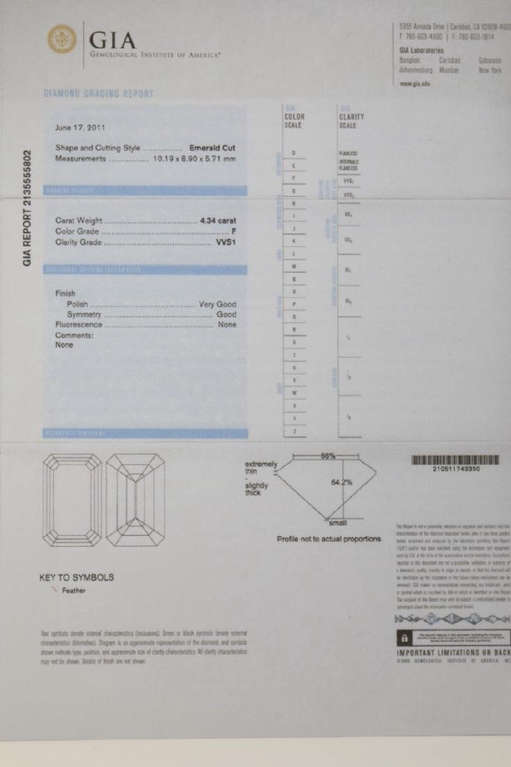 4.34ct GIA VVS1/F Diamond in Platinum Ring - 8