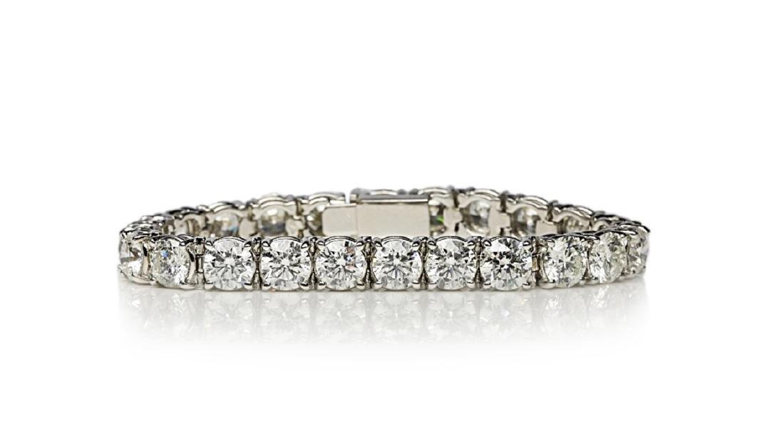 """27.50ctw VS1-VS2/G-H Diamond & 18K 7"""" Bracelet"""