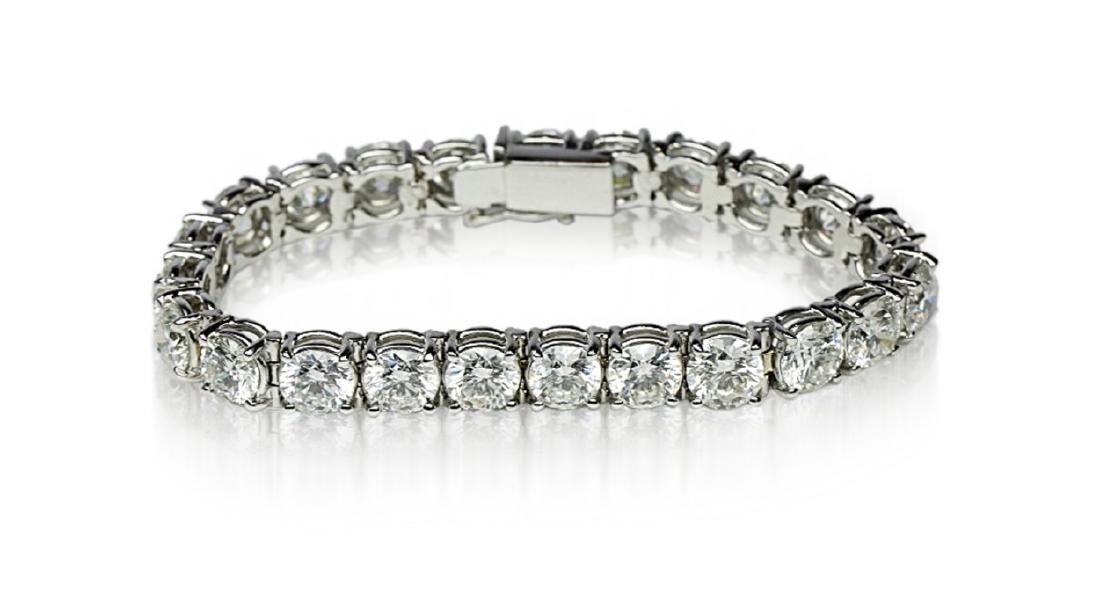 """27.50ctw VS1-VS2/G-H Diamond & 18K 7"""" Bracelet - 2"""
