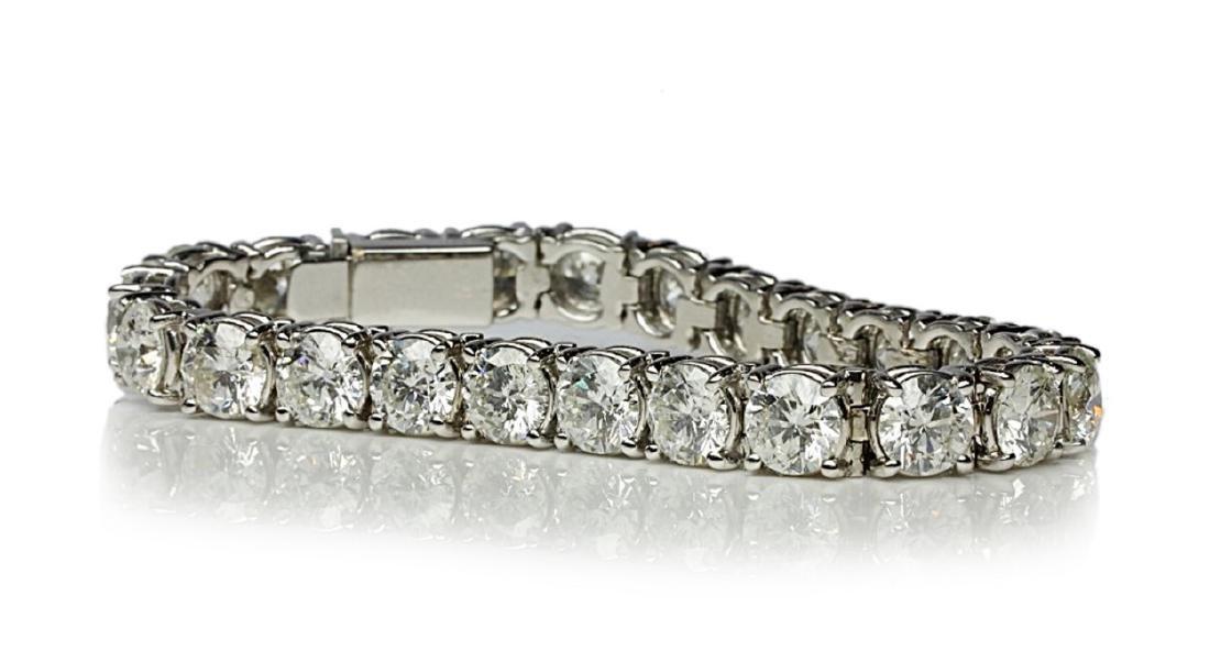 """27.50ctw VS1-VS2/G-H Diamond & 18K 7"""" Bracelet - 4"""