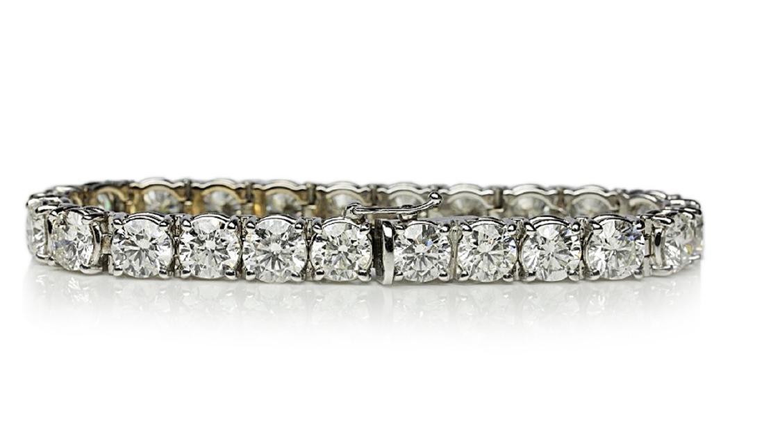 """27.50ctw VS1-VS2/G-H Diamond & 18K 7"""" Bracelet - 5"""