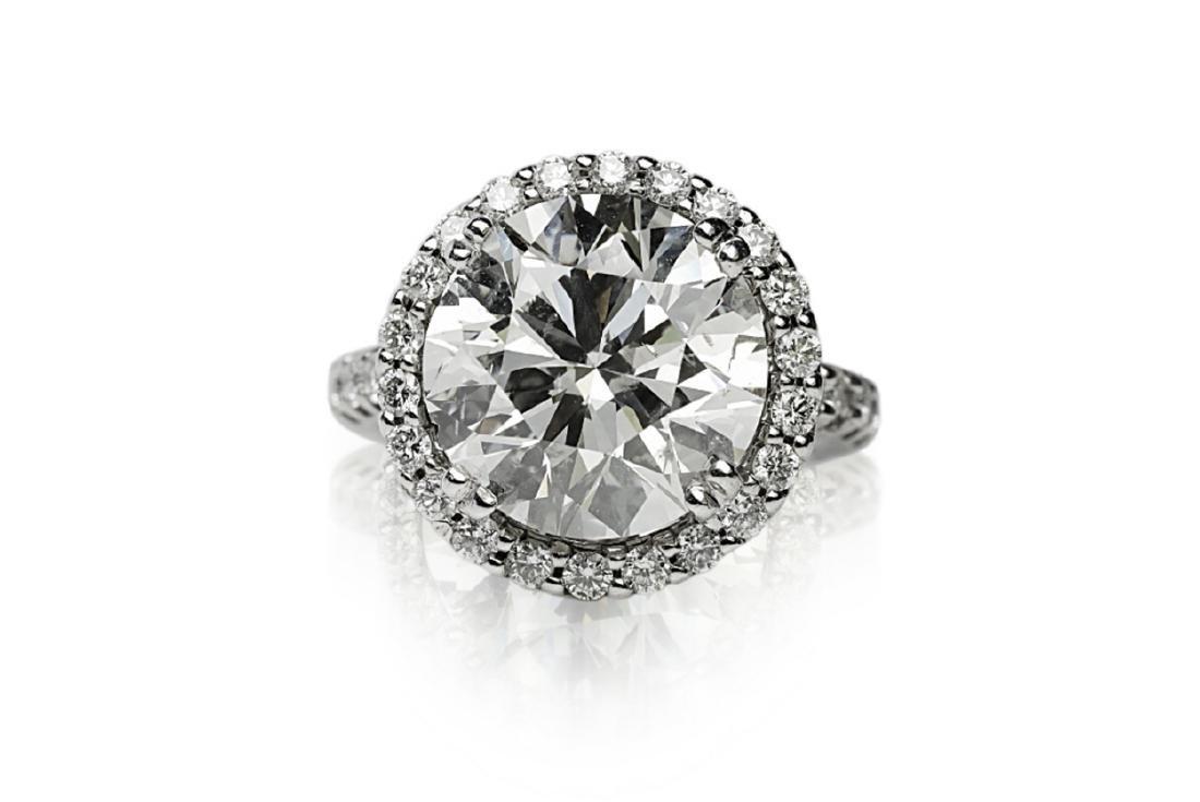 7.10ct SI1-SI2/H-I Diamond in 18K Halo Setting - 4