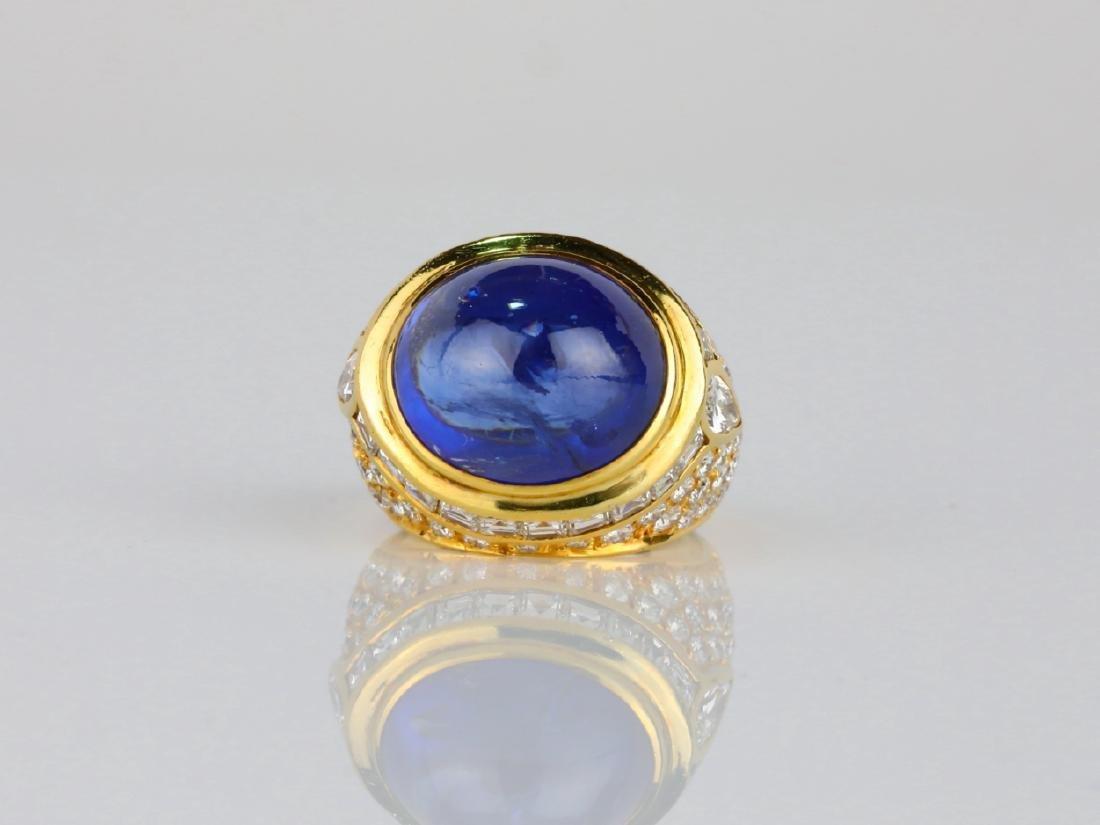 17.ct Blue Sapphire, 4ctw Diamond & 18K Ring