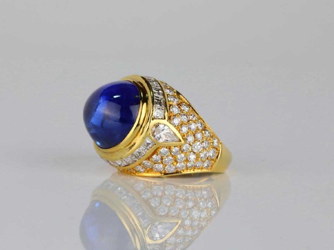 17.ct Blue Sapphire, 4ctw Diamond & 18K Ring - 2