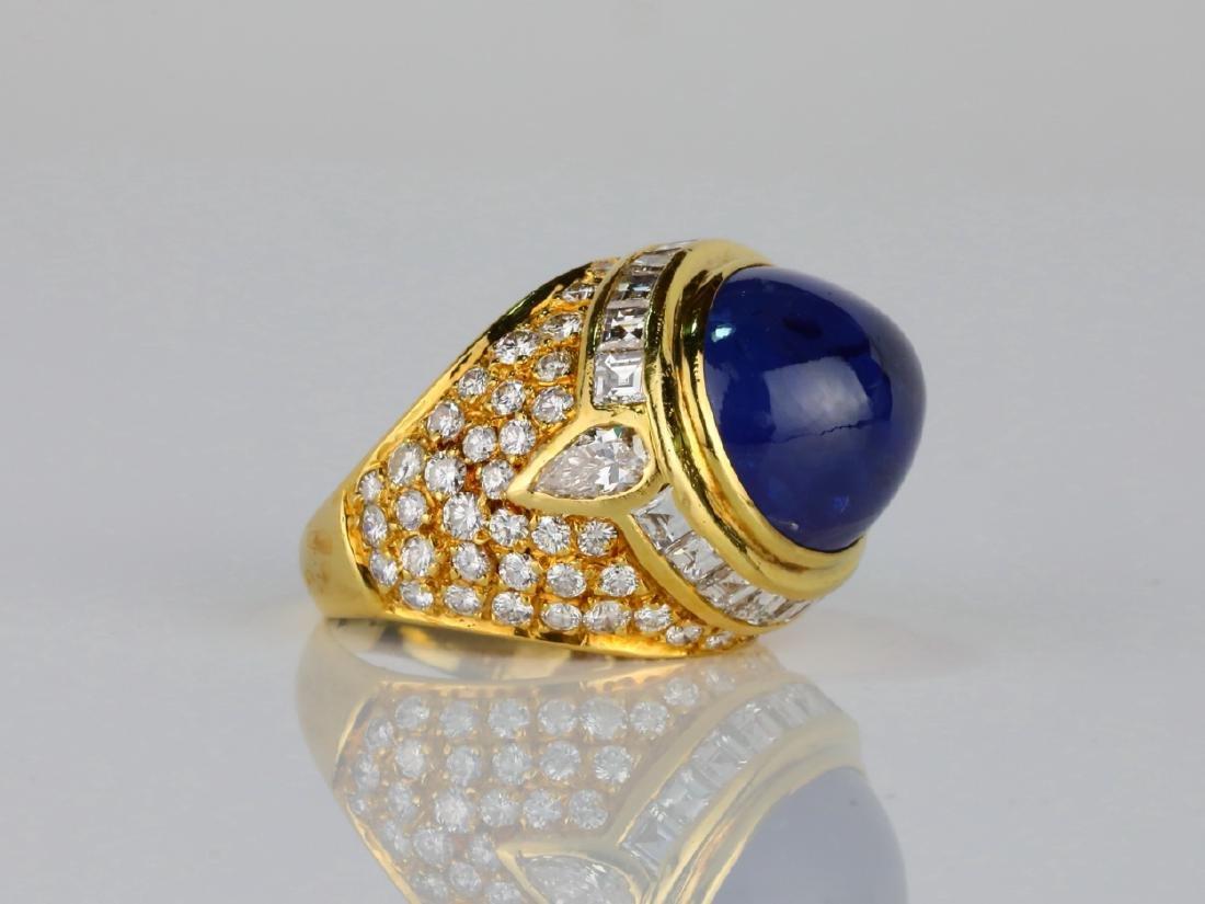 17.ct Blue Sapphire, 4ctw Diamond & 18K Ring - 3