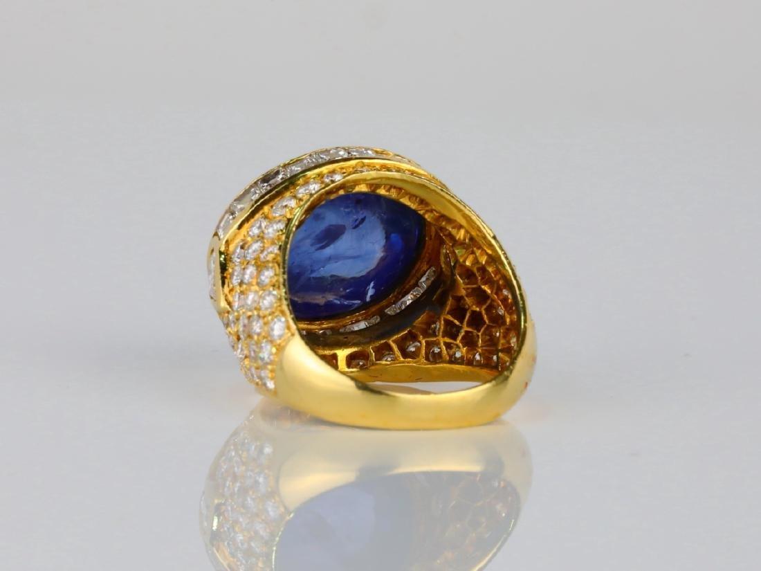17.ct Blue Sapphire, 4ctw Diamond & 18K Ring - 4