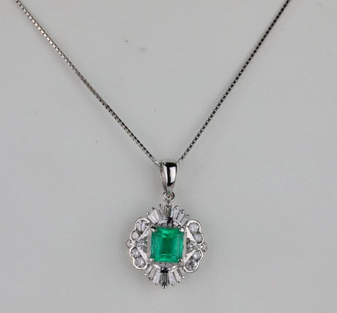 1.25ct Colombian Emerald, Diamond Platinum Necklace