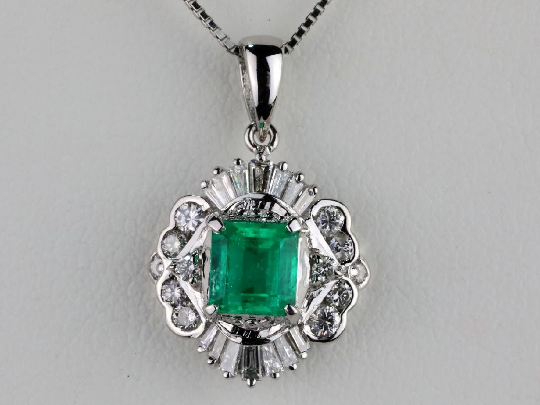 1.25ct Colombian Emerald, Diamond Platinum Necklace - 2