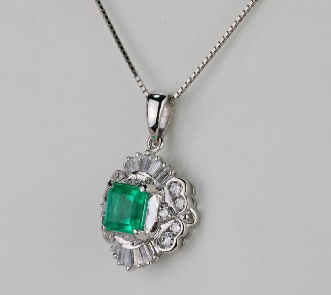 1.25ct Colombian Emerald, Diamond Platinum Necklace - 3