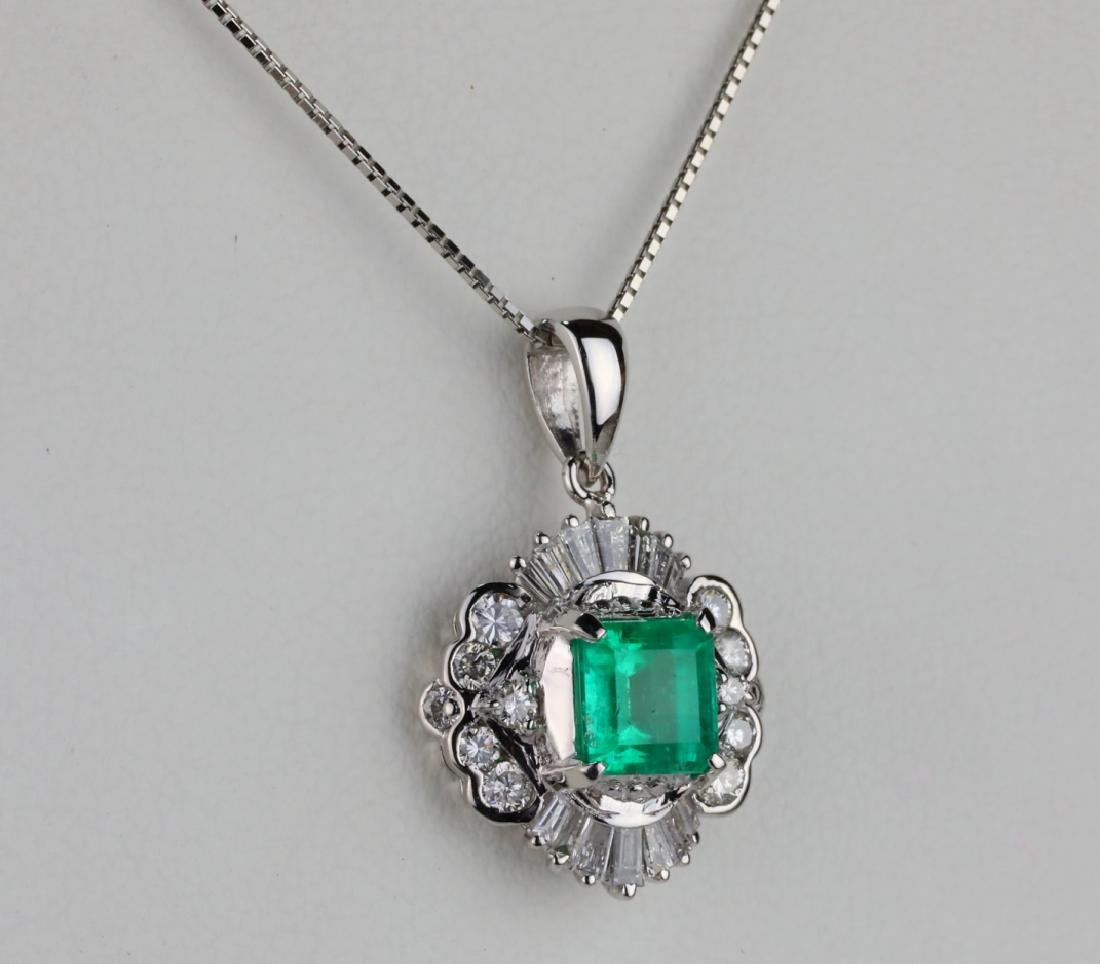 1.25ct Colombian Emerald, Diamond Platinum Necklace - 4