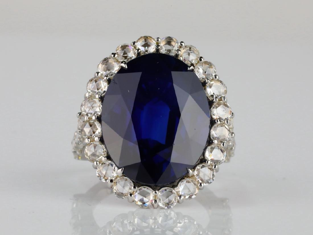 20.30ct Blue Sapphire, 4.50ctw Diamond & 18K Ring