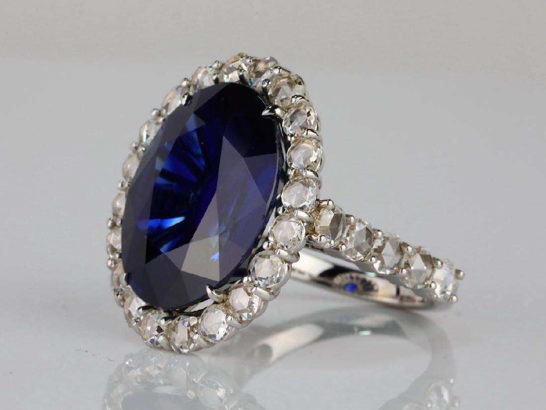 20.30ct Blue Sapphire, 4.50ctw Diamond & 18K Ring - 2