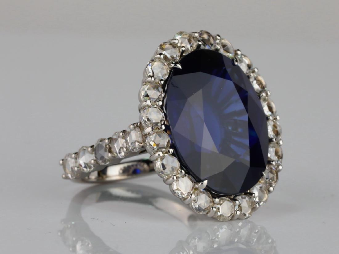 20.30ct Blue Sapphire, 4.50ctw Diamond & 18K Ring - 3