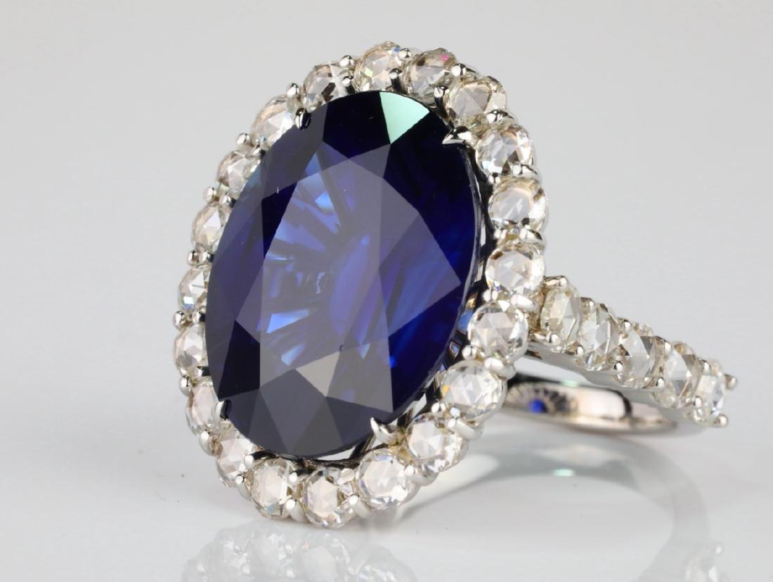 20.30ct Blue Sapphire, 4.50ctw Diamond & 18K Ring - 4
