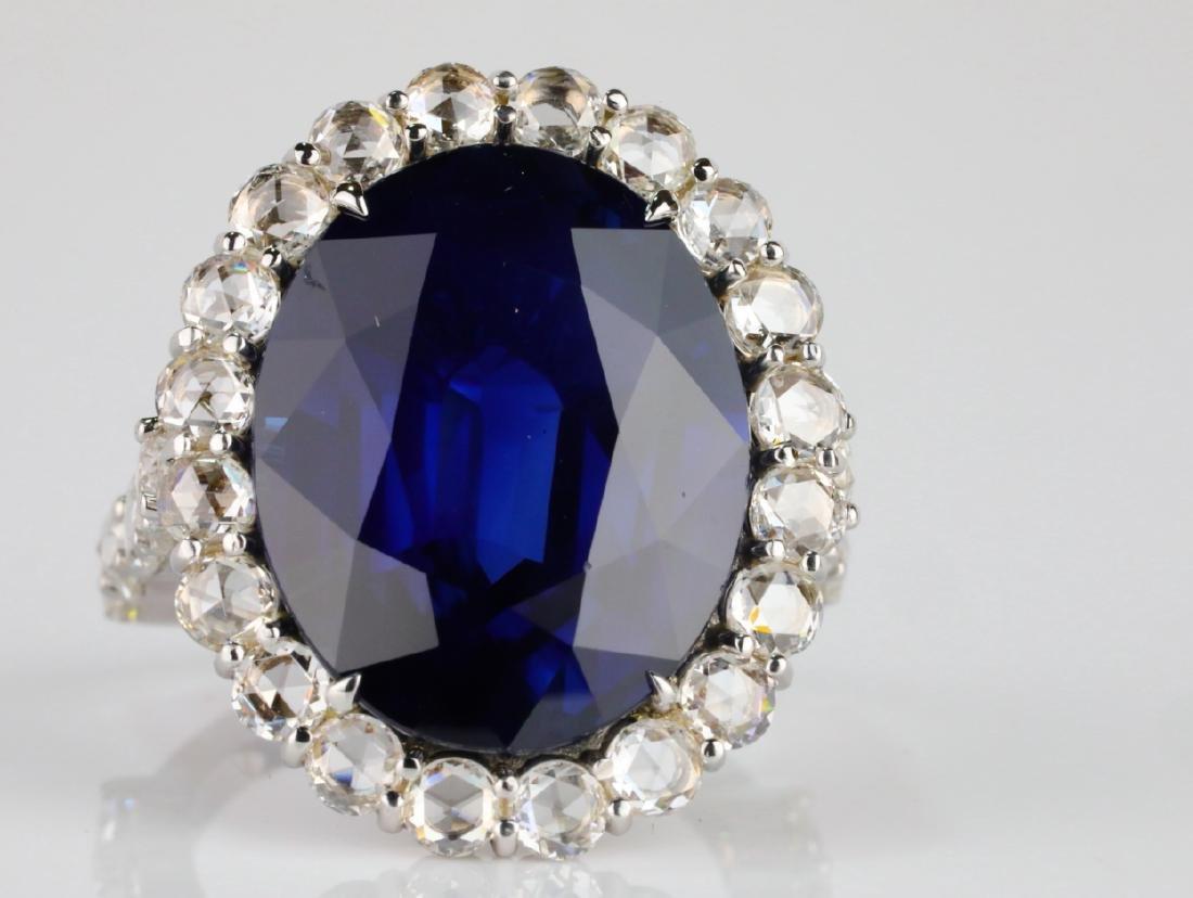 20.30ct Blue Sapphire, 4.50ctw Diamond & 18K Ring - 5