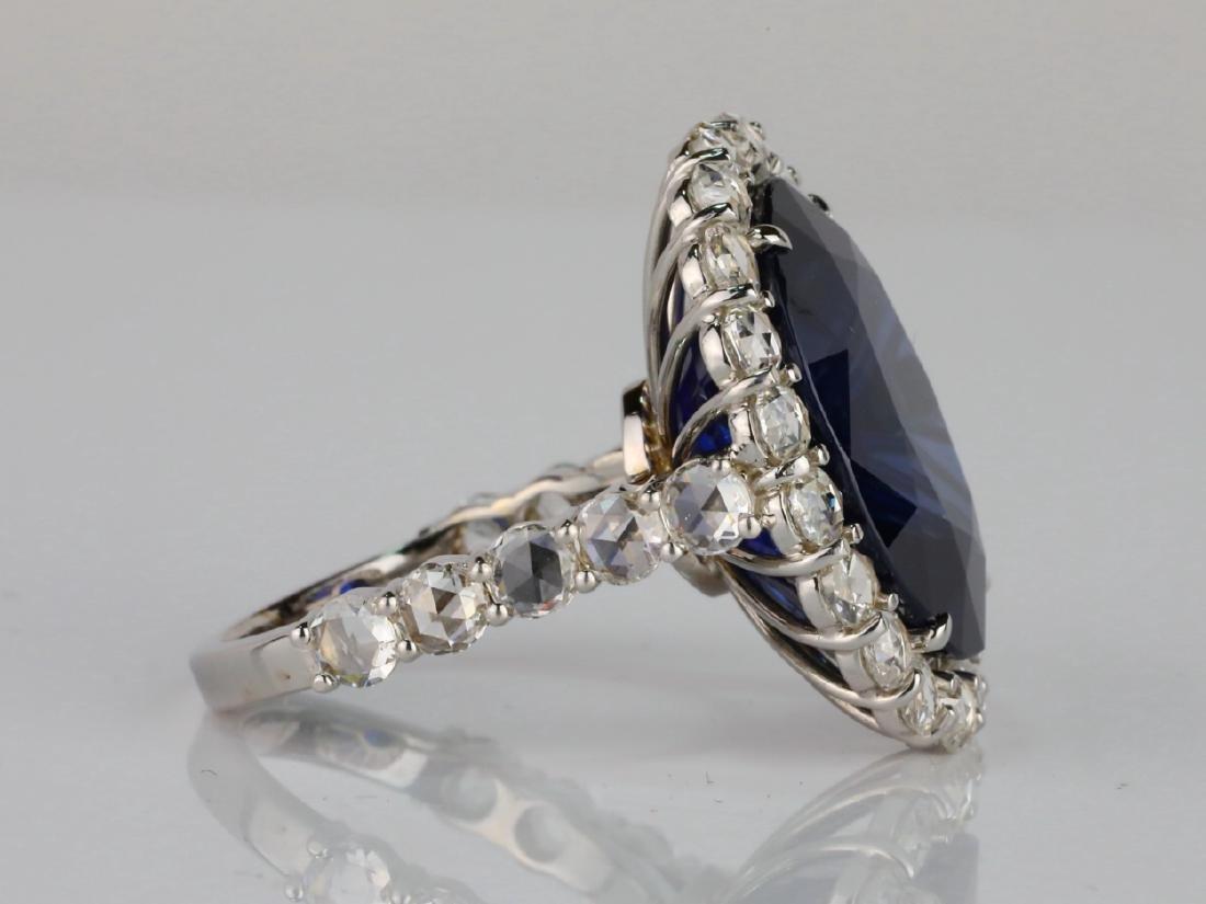 20.30ct Blue Sapphire, 4.50ctw Diamond & 18K Ring - 7