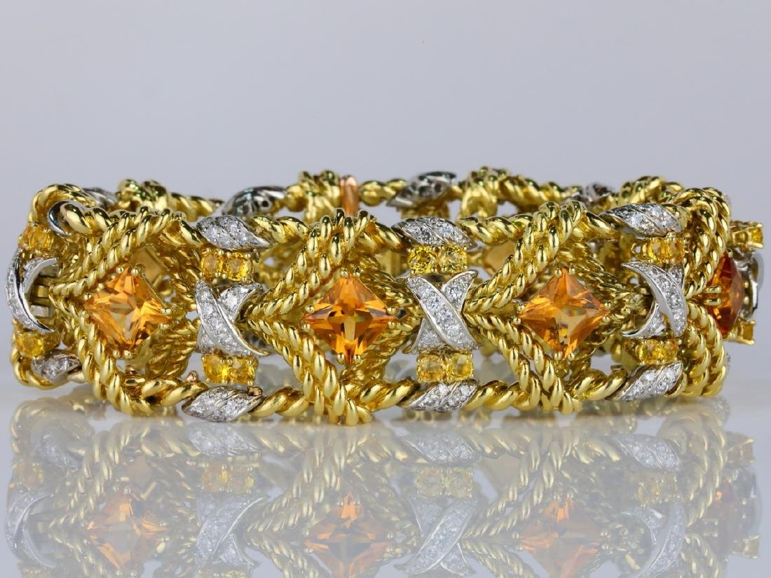 27.15ctw Citrine, Diamond, Yellow Sapphire 18K Bracelet