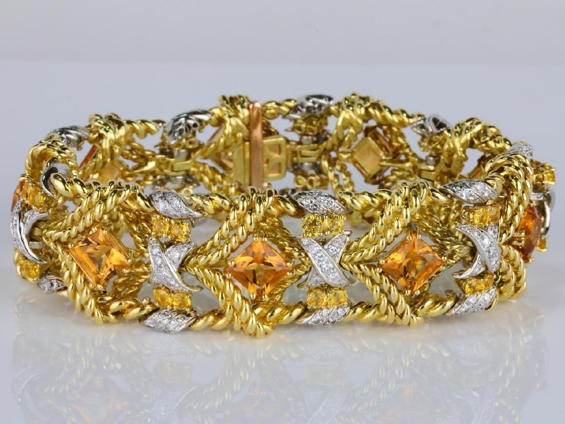 27.15ctw Citrine, Diamond, Yellow Sapphire 18K Bracelet - 2