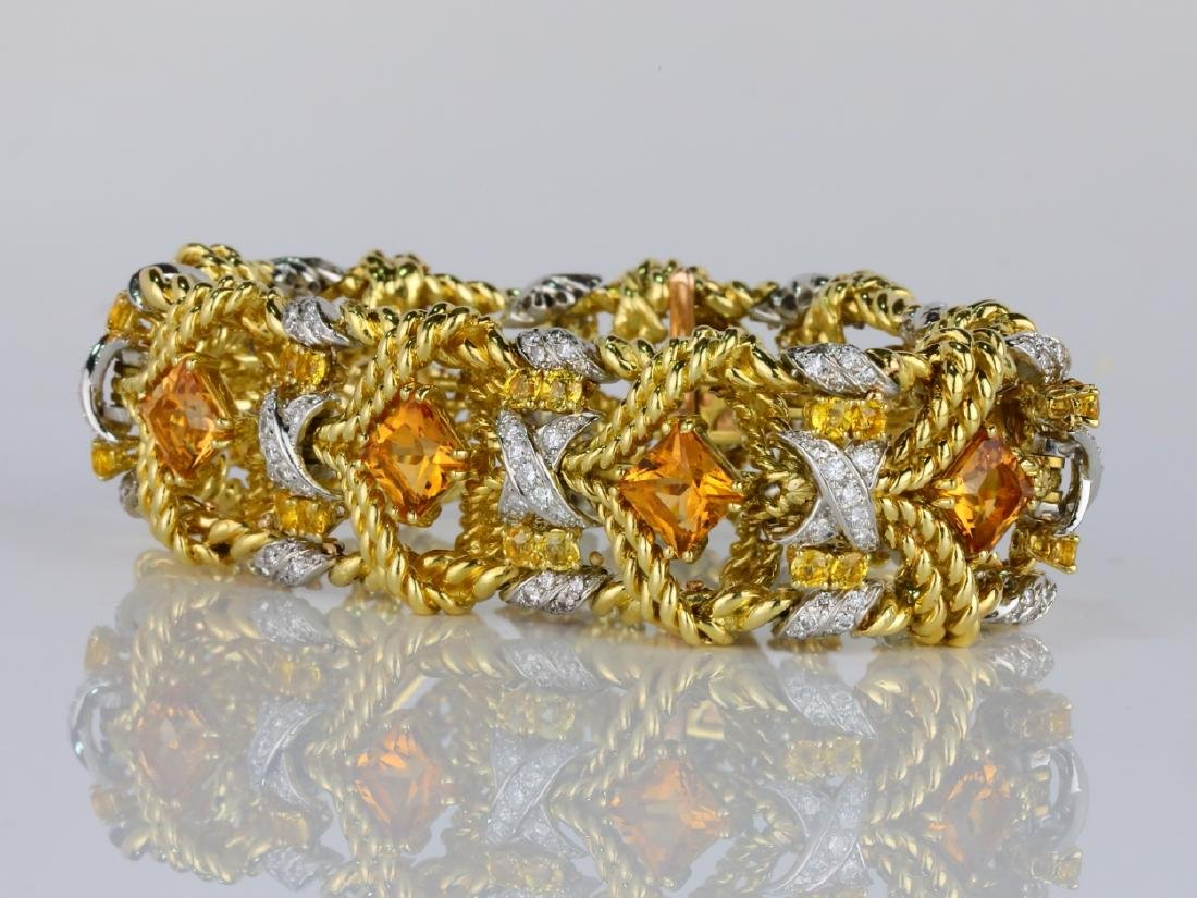 27.15ctw Citrine, Diamond, Yellow Sapphire 18K Bracelet - 3