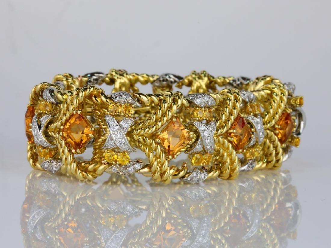 27.15ctw Citrine, Diamond, Yellow Sapphire 18K Bracelet - 4