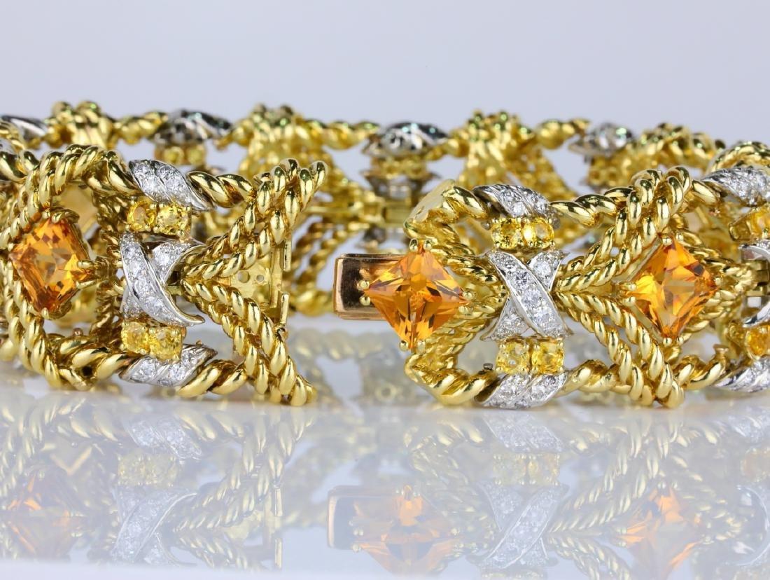27.15ctw Citrine, Diamond, Yellow Sapphire 18K Bracelet - 6