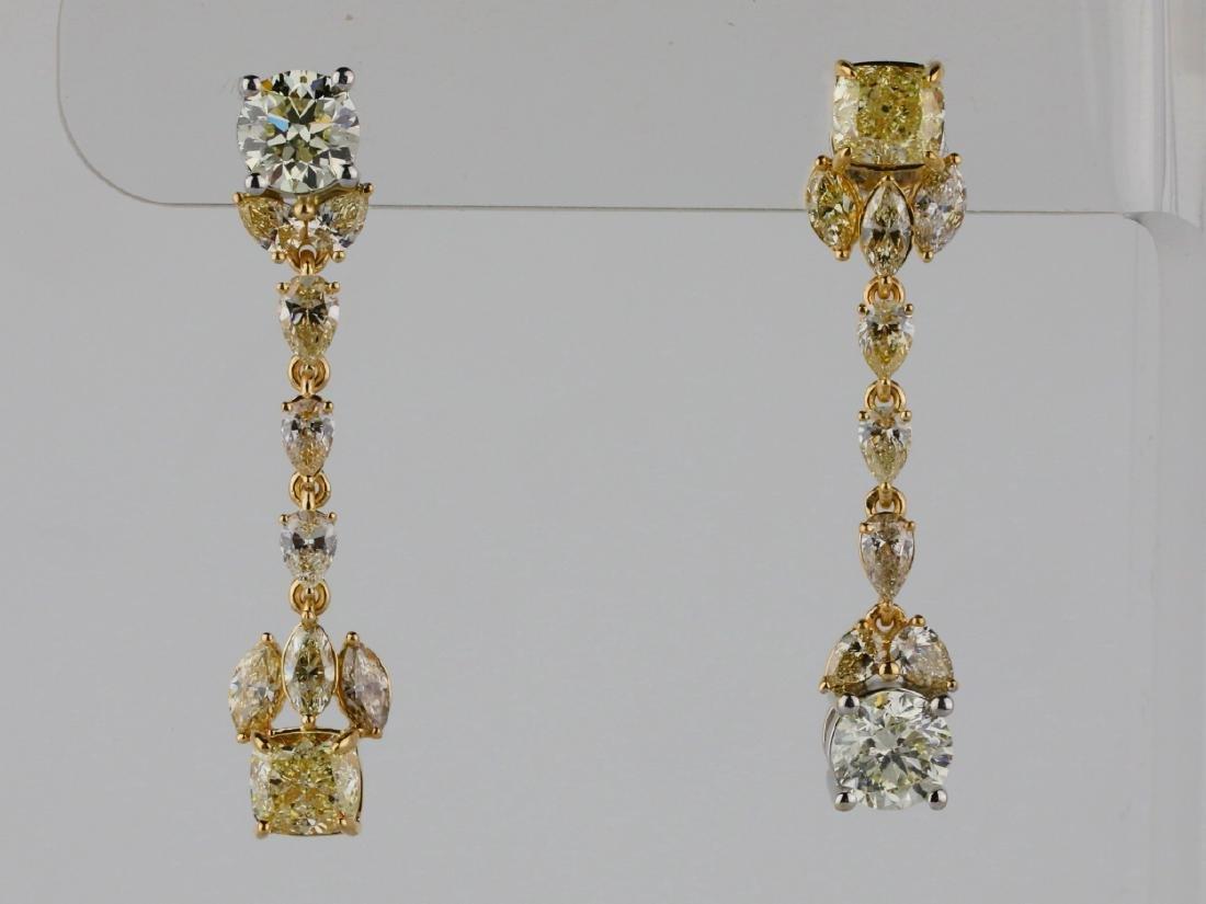 5.85ctw Yellow & White Diamond 18K Drop Earrings