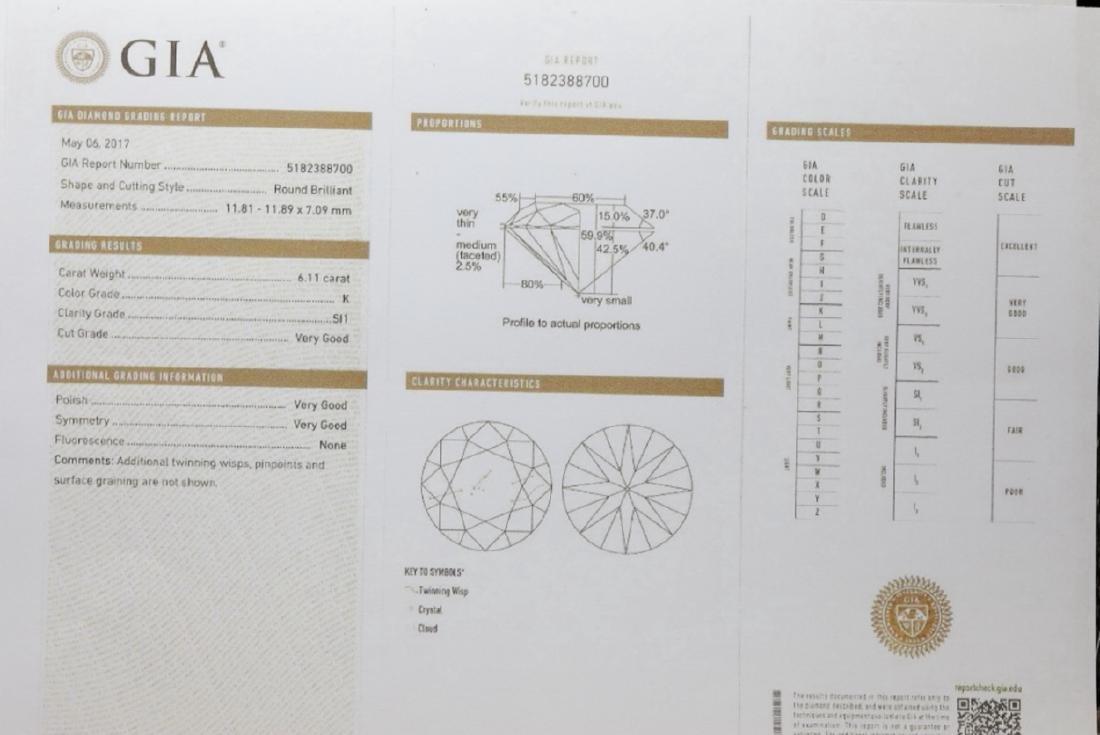 6.11ct GIA SI1/K Diamond in Platinum Band - 8
