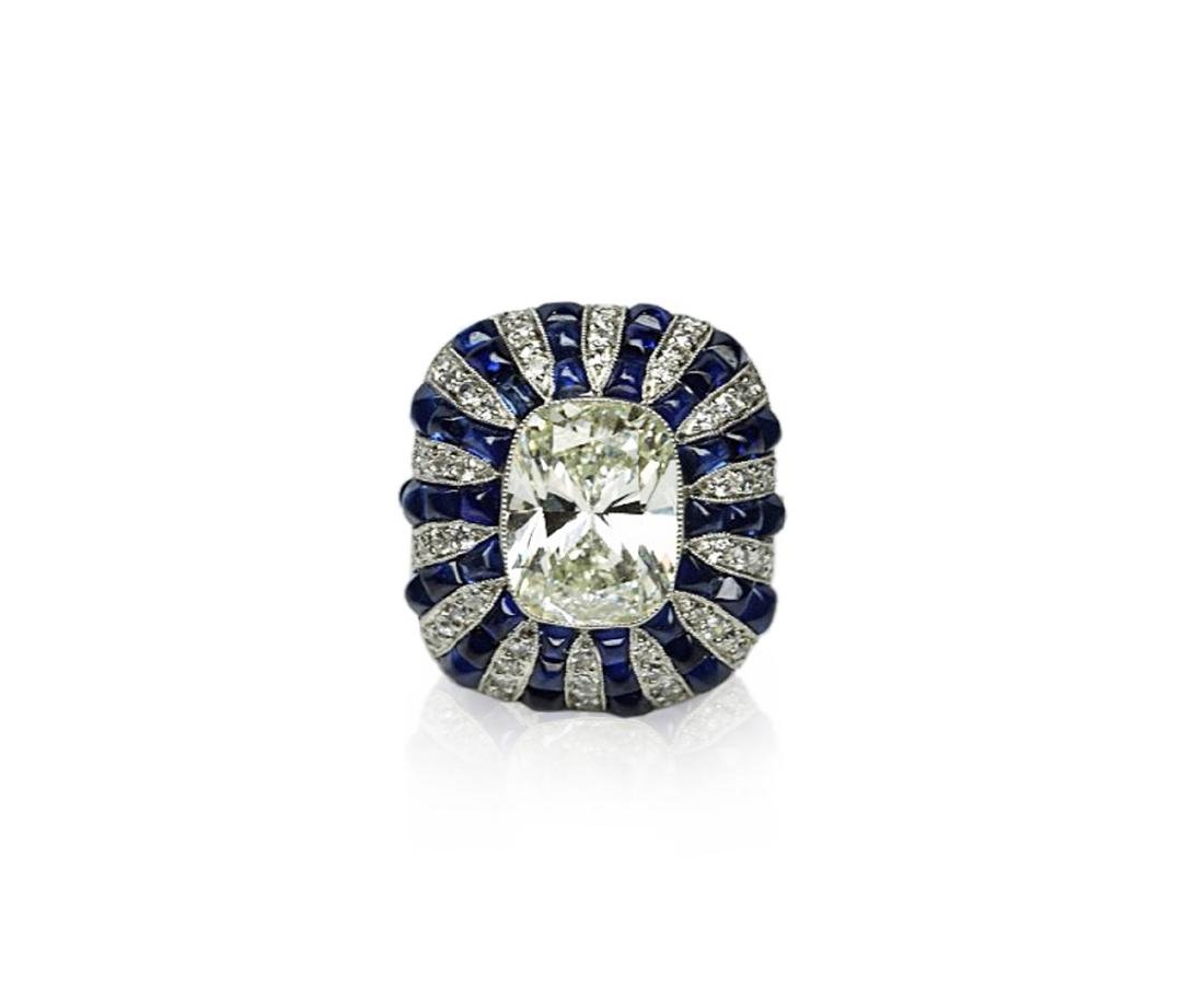 5.42ct GIA Diamond, 7ctw Blue Sapphire & Platinum Ring
