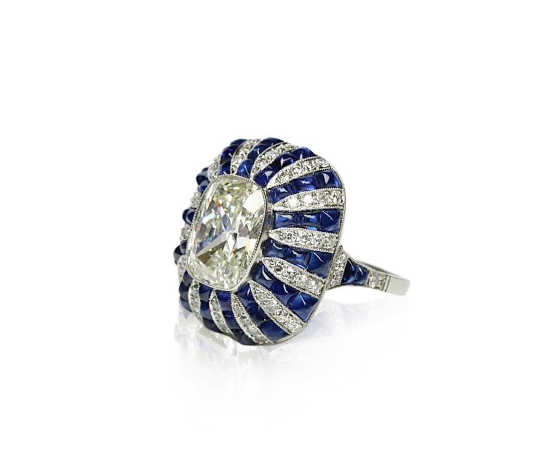 5.42ct GIA Diamond, 7ctw Blue Sapphire & Platinum Ring - 2