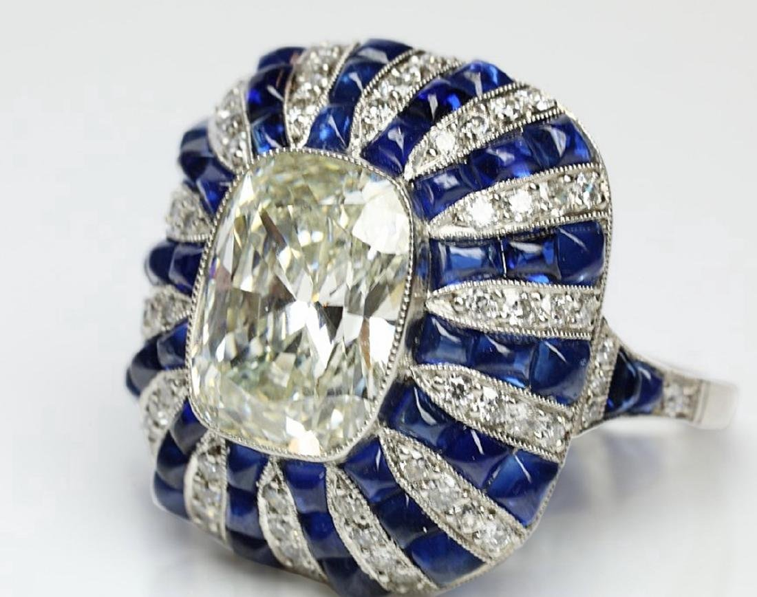 5.42ct GIA Diamond, 7ctw Blue Sapphire & Platinum Ring - 5